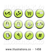 Royalty Free Stock Illustration of a Collection of Green Business Website Icon Buttons - Key, Secure, Email, Number, Lock, Authentication, Security, Shopping Cart, Add Item by Rasmussen Images