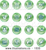 Royalty Free Stock Illustration of a Collection of Green Coin Shaped Business Icons of Business People, Management, Hand Shake, Lightbulb, Cash, Charts, and Money Bags by AtStockIllustration