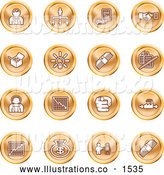 Royalty Free Stock Illustration of a Collection of Orange Coin Shaped Business Icons of Business People, Management, Hand Shake, Lightbulb, Cash, Charts, and Money Bags by AtStockIllustration