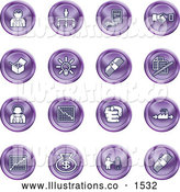Royalty Free Stock Illustration of a Collection of Purple Coin Shaped Business Icons of Business People, Management, Hand Shake, Lightbulb, Cash, Charts, and Money Bags by AtStockIllustration