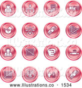 Royalty Free Stock Illustration of a Collection of Red Coin Shaped Business Icons of Business People, Management, Hand Shake, Lightbulb, Cash, Charts, and Money Bags by AtStockIllustration