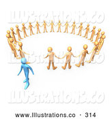 Royalty Free Stock Illustration of a Colorful Blue Person Walking Away from a Circle of Orange People, Symbolizing Different Beliefs, Quitting or Being Fired by 3poD