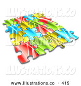 November 11th, 2013: Royalty Free Stock Illustration of a Colorful Puzzle Connected over a White Background, Symbolizing Interlinking for Seo Website Marketing, Teamwork and Diversity by 3poD