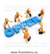 Royalty Free Stock Illustration of a Competitive 3d Orange Business Men Walking in Towards a Blue Offer, Symbolizing Job Searching and Competition by 3poD