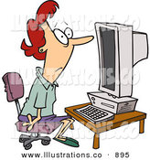 Royalty Free Stock Illustration of a Computer Illiterate Woman Sitting in Front of a Desktop Computer by Toonaday
