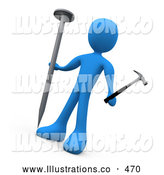Royalty Free Stock Illustration of a Confused Blue Person Carpenter Holding a Large Nail and a Tiny Hammer, Trying to Accomplish a Difficult Task by 3poD