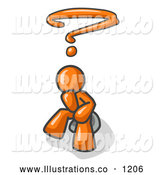 Royalty Free Stock Illustration of a Confused Orange Business Man with a Question Mark over His Head by Leo Blanchette
