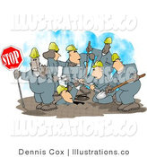 Royalty Free Stock Illustration of a Construction Crew Working on the Roads by Djart