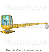 Royalty Free Stock Illustration of a Construction Worker in a Hard Hat Operating a Heavy Equipment Crane by Djart