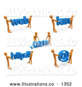 Royalty Free Stock Illustration of a Construction Zone of Orange Men Carrying Online Web, Com, Lan, Http and an Email Symbol by 3poD