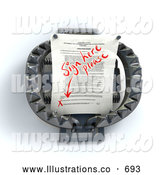 Royalty Free Stock Illustration of a Contractual Document on a Bear Trap, Waiting for a Signature by Leo Blanchette