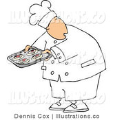 Royalty Free Stock Illustration of a Cook Looking over His Shoulder While Holding Raw Food on a Tray by Djart