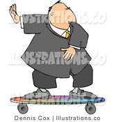 Royalty Free Stock Illustration of a Cool Businessman Surfing on a Skateboard by Djart