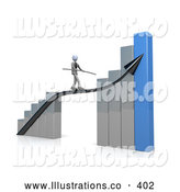 November 11th, 2013: Royalty Free Stock Illustration of a Corporate Businessman Holding a Balance Beam While Walking on a Bright Increase Black Arrow on a Silver and Blue Bar Graph Chart by 3poD