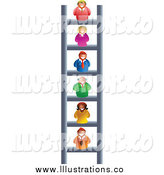 Royalty Free Stock Illustration of a Corporate Ladder with Business Men and Women by Prawny