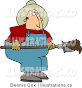 Royalty Free Stock Illustration of a Cowboy Rancher Shoveling Cattle Dung with a Shovel by Djart