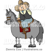 Royalty Free Stock Illustration of a Cowboy Sitting on a Saddled Horse While Talking on His Cellular Telephone by Djart