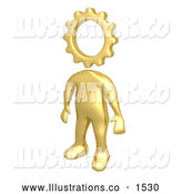 Royalty Free Stock Illustration of a Creative Cog Headed Golden Person with a Big Imagination by 3poD