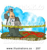 Royalty Free Stock Illustration of a Crime Scene Investigator Person Investigating a Murder by Djart