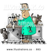 Royalty Free Stock Illustration of a Curious Male Veterinarian Handling a Dead Dog on a Table by Djart