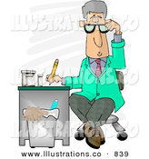 Royalty Free Stock Illustration of a Curious White Medical Doctor Taking Notes While Sitting at a Desk in a Hospital by Djart