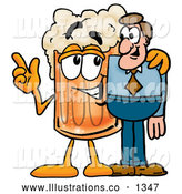 Royalty Free Stock Illustration of a Cute Beer Mug Mascot Cartoon Character Talking to a Business Man by Toons4Biz