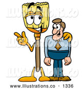 Royalty Free Stock Illustration of a Cute Broom Mascot Cartoon Character Talking to a Business Man by Toons4Biz