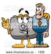 Royalty Free Stock Illustration of a Cute Camera Mascot Cartoon Character Talking to a Business Man by Toons4Biz