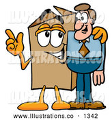 Royalty Free Stock Illustration of a Cute Cardboard Box Mascot Cartoon Character Talking to a Business Man by Toons4Biz