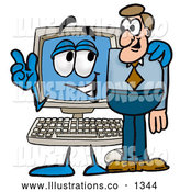 Royalty Free Stock Illustration of a Cute Desktop Computer Mascot Cartoon Character Talking to a Business Man by Toons4Biz