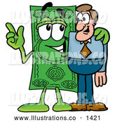 Royalty Free Stock Illustration of a Cute Dollar Bill Mascot Cartoon Character Talking to a Business Man by Toons4Biz