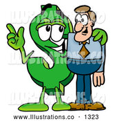 Royalty Free Stock Illustration of a Cute Dollar Sign Mascot Cartoon Character Talking to a Business Man by Toons4Biz