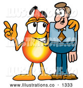 Royalty Free Stock Illustration of a Cute Flame Mascot Cartoon Character Talking to a Business Man by Toons4Biz