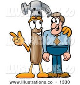 Royalty Free Stock Illustration of a Cute Hammer Mascot Cartoon Character Talking to a Business Man by Toons4Biz