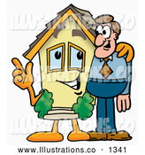 Royalty Free Stock Illustration of a Cute House Mascot Cartoon Character Talking to a Business Man by Toons4Biz