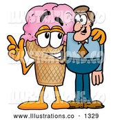 Royalty Free Stock Illustration of a Cute Ice Cream Cone Mascot Cartoon Character Talking to a Business Man by Toons4Biz