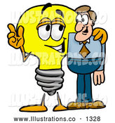 Royalty Free Stock Illustration of a Cute Light Bulb Mascot Cartoon Character Talking to a Business Man by Toons4Biz