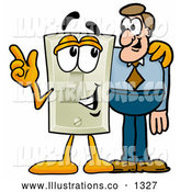 Royalty Free Stock Illustration of a Cute Light Switch Mascot Cartoon Character Talking to a Business Man by Toons4Biz