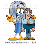 Royalty Free Stock Illustration of a Cute Magnifying Glass Mascot Cartoon Character Talking to a Business Man by Toons4Biz