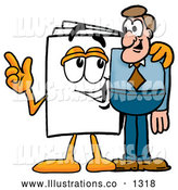 Royalty Free Stock Illustration of a Cute Paper Mascot Cartoon Character Talking to a Business Man by Toons4Biz