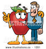 Royalty Free Stock Illustration of a Cute Red Apple Character Mascot Talking Nutrition with a Business Man by Toons4Biz