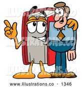 Royalty Free Stock Illustration of a Cute Red Book Mascot Cartoon Character Talking to a Business Man by Toons4Biz