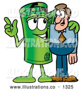 Royalty Free Stock Illustration of a Cute Rolled Money Mascot Cartoon Character Talking to a Business Man by Toons4Biz