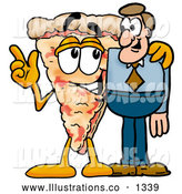 Royalty Free Stock Illustration of a Cute Slice of Pizza Mascot Cartoon Character Talking to a Business Man by Toons4Biz