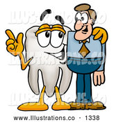 Royalty Free Stock Illustration of a Cute Tooth Mascot Cartoon Character Talking to a Business Man by Toons4Biz