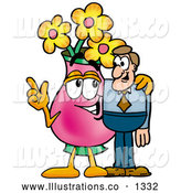 Royalty Free Stock Illustration of a Cute Vase of Flowers Mascot Cartoon Character Talking to a Business Man by Toons4Biz