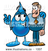 Royalty Free Stock Illustration of a Cute Water Drop Mascot Cartoon Character Talking to a Business Man by Toons4Biz