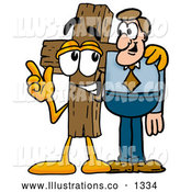 Royalty Free Stock Illustration of a Cute Wooden Cross Mascot Cartoon Character Talking to a Business Man by Toons4Biz