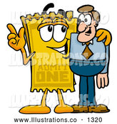 Royalty Free Stock Illustration of a Cute Yellow Admission Ticket Mascot Cartoon Character Talking to a Business Man by Toons4Biz