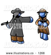 Royalty Free Stock Illustration of a Dangerous Blue Man Challenging Another Blue Man to a Duel with Pistils by Leo Blanchette